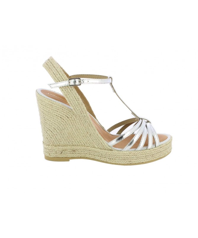 Espadrille bloc with silver ribbons