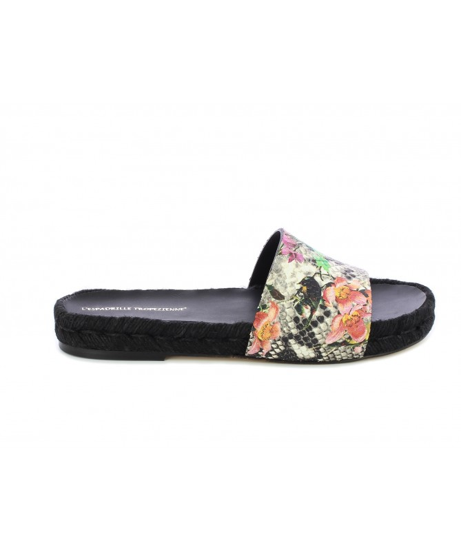 Espadrille mule python with flowers
