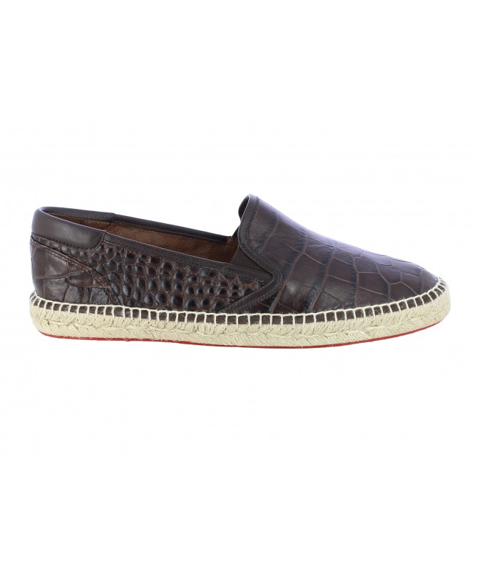 Slippers Homme Croco Marron